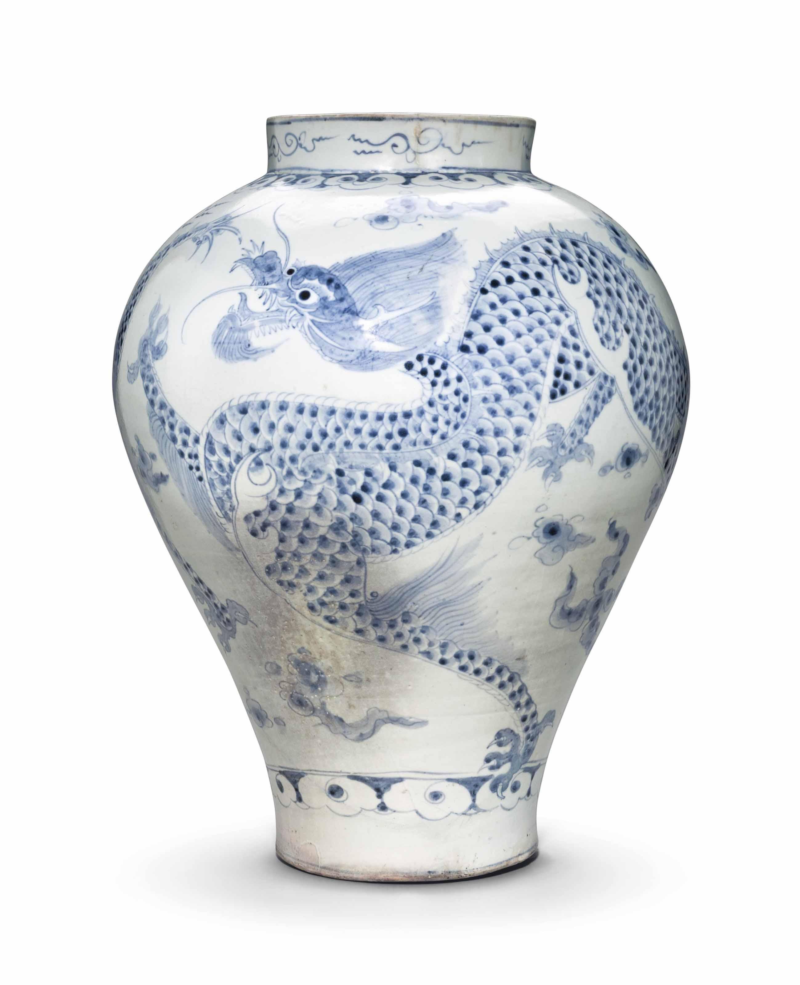 A Blue and White Porcelain Dragon Jar