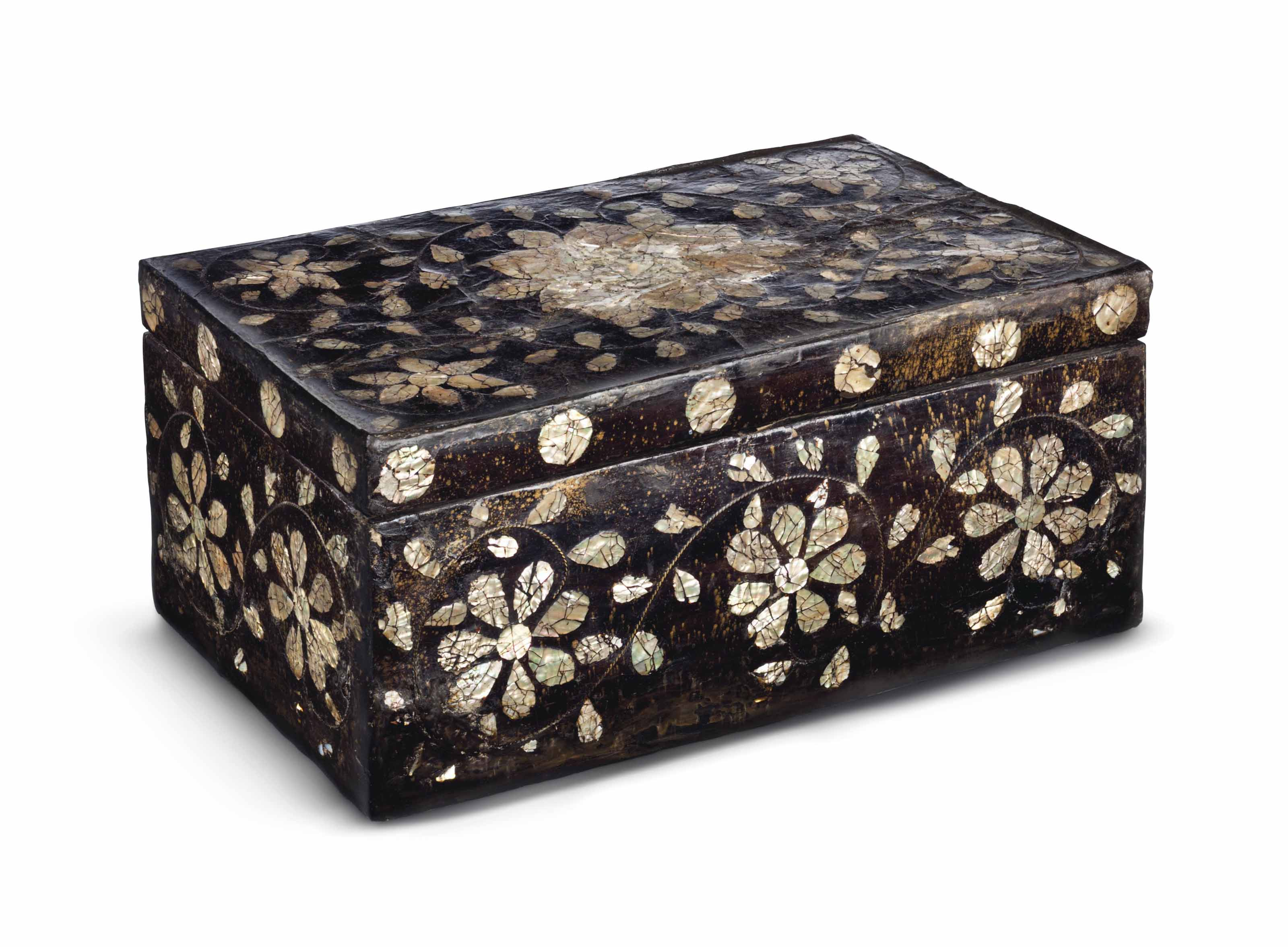 A mother-of-pearl inlaid lacquer box