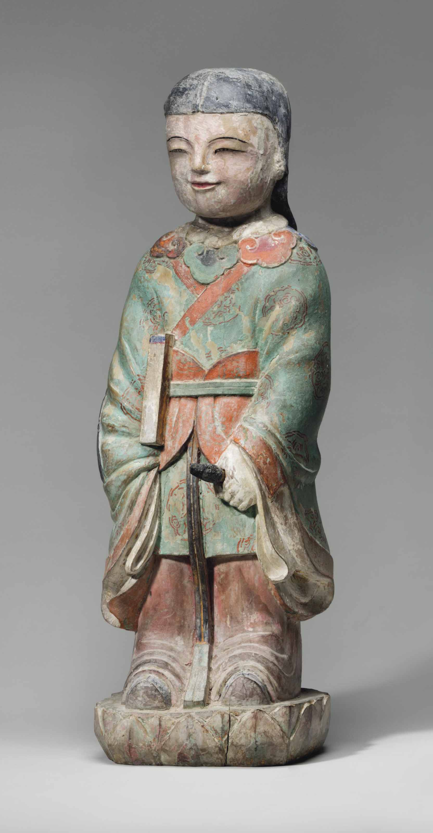 A Painted-wood Figure of a Boy Attendant (Dongja)