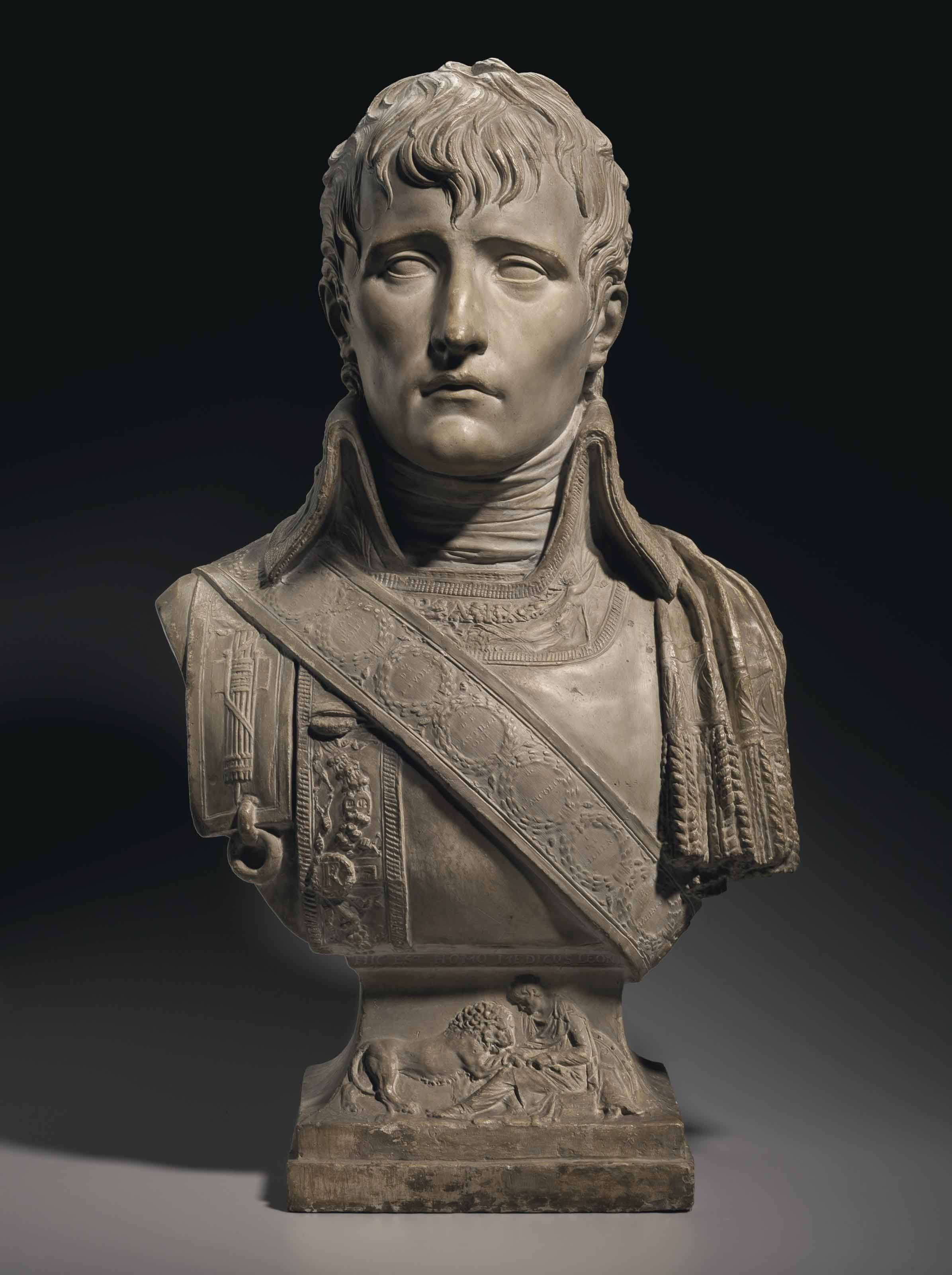 A TINTED PLASTER BUST OF NAPOLEON BONAPARTE AS FIRST CONSUL
