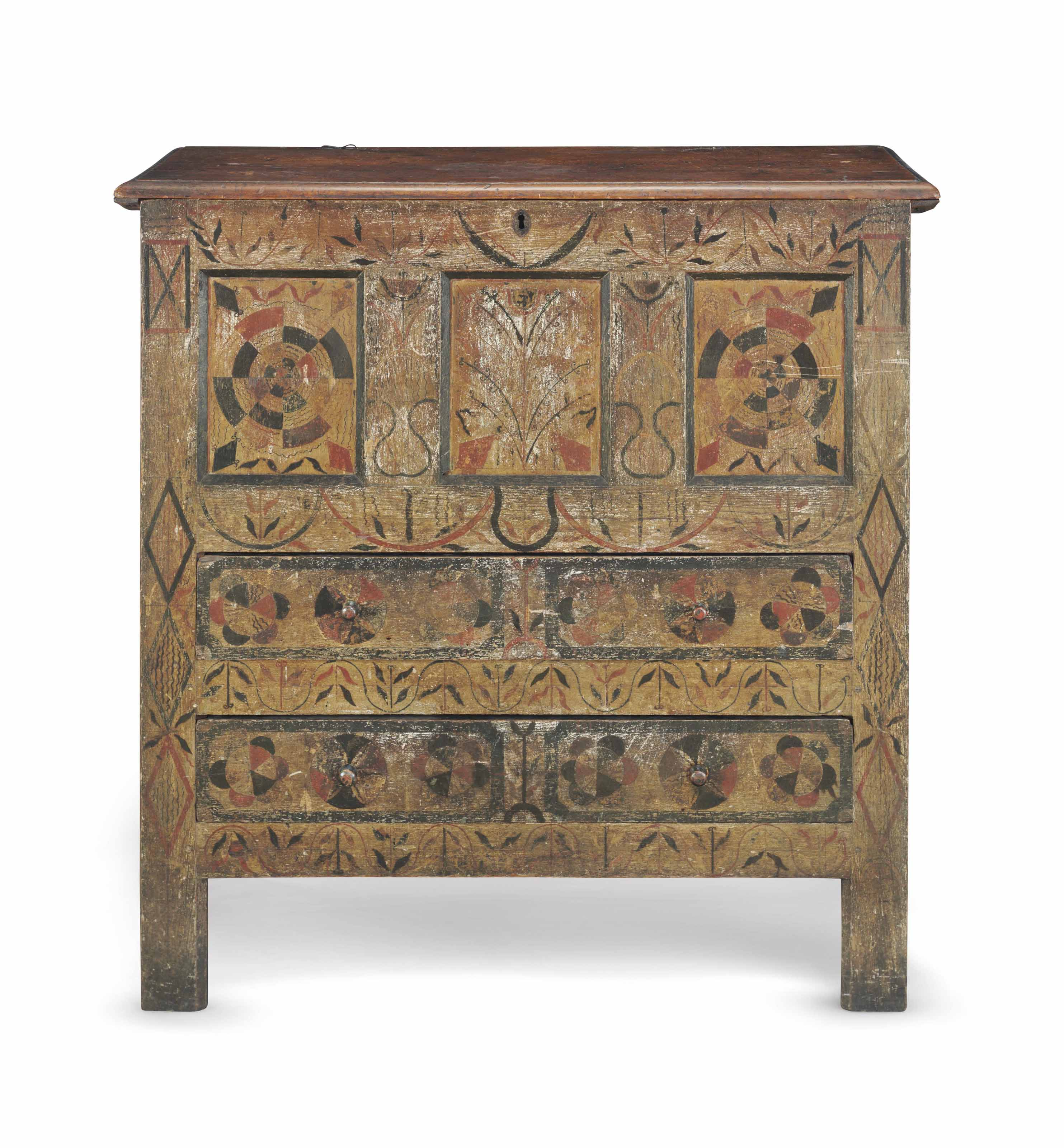 "THE EXTRAORDINARY JOINED OAK AND PINE POLYCHROME ""HADLEY"" CHEST-WITH-DRAWERS"