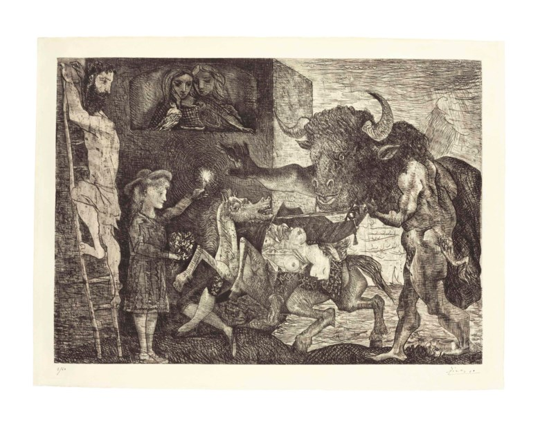 Pablo Picasso (1881-1973), La Minotauromachie, executed in 1935. Etching and engraving with scraper on Montval paper, Baers seventh (final) state. Sheet size 22¼ x 30 in (57 x 76 cm). Sold for $2,629,000 on 12 May 2016 at Christie's in New York. Artwork © Succession PicassoDACS, London 2019