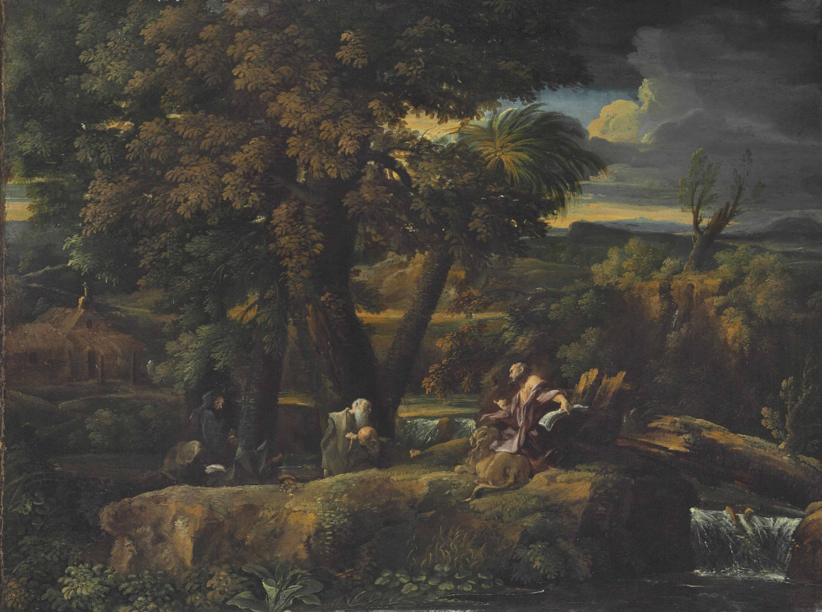 An extensive river landscape with Saint Jerome and a group of monks