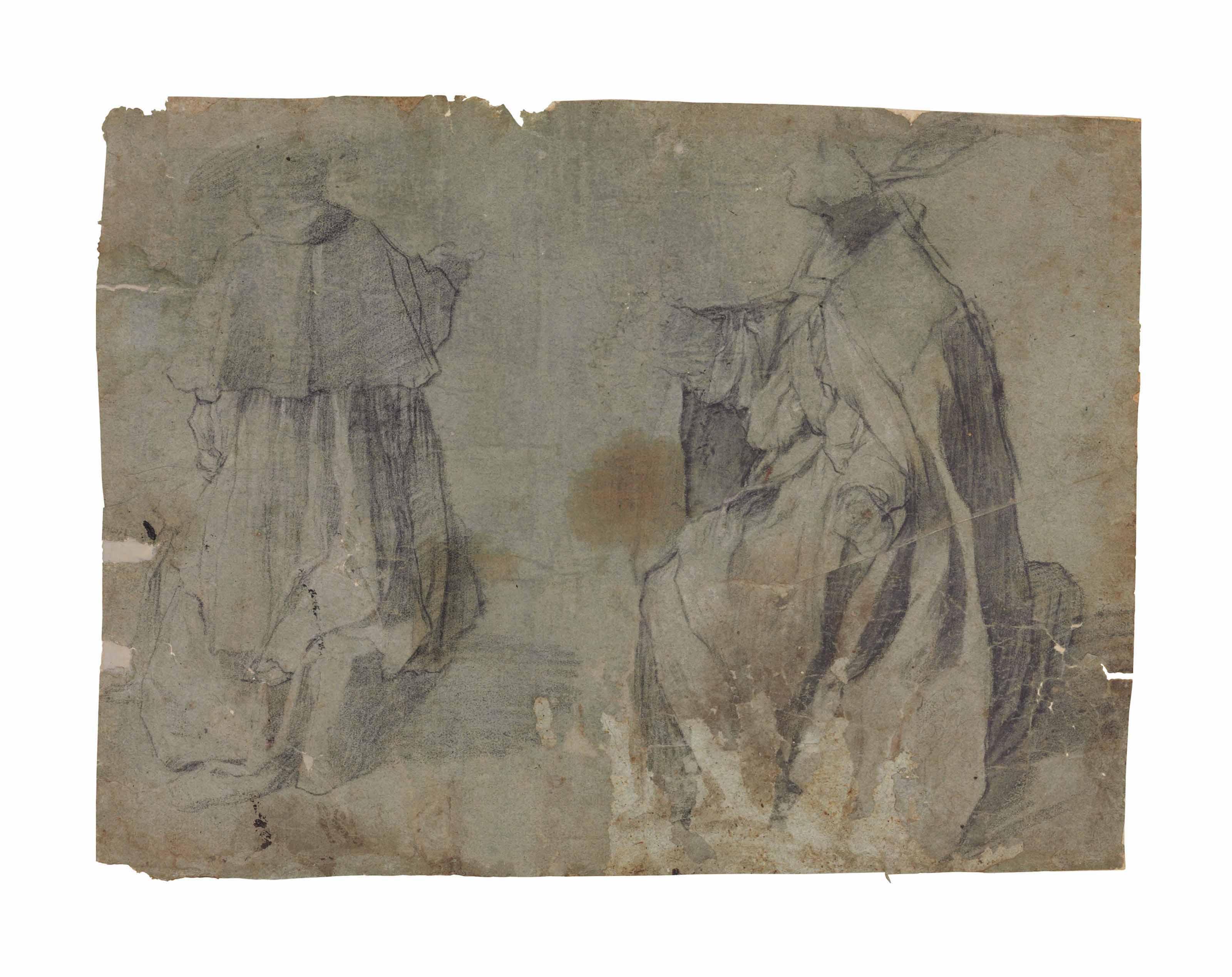 Two studies of a kneeling prelate (i); Three elegantly dressed man (ii)