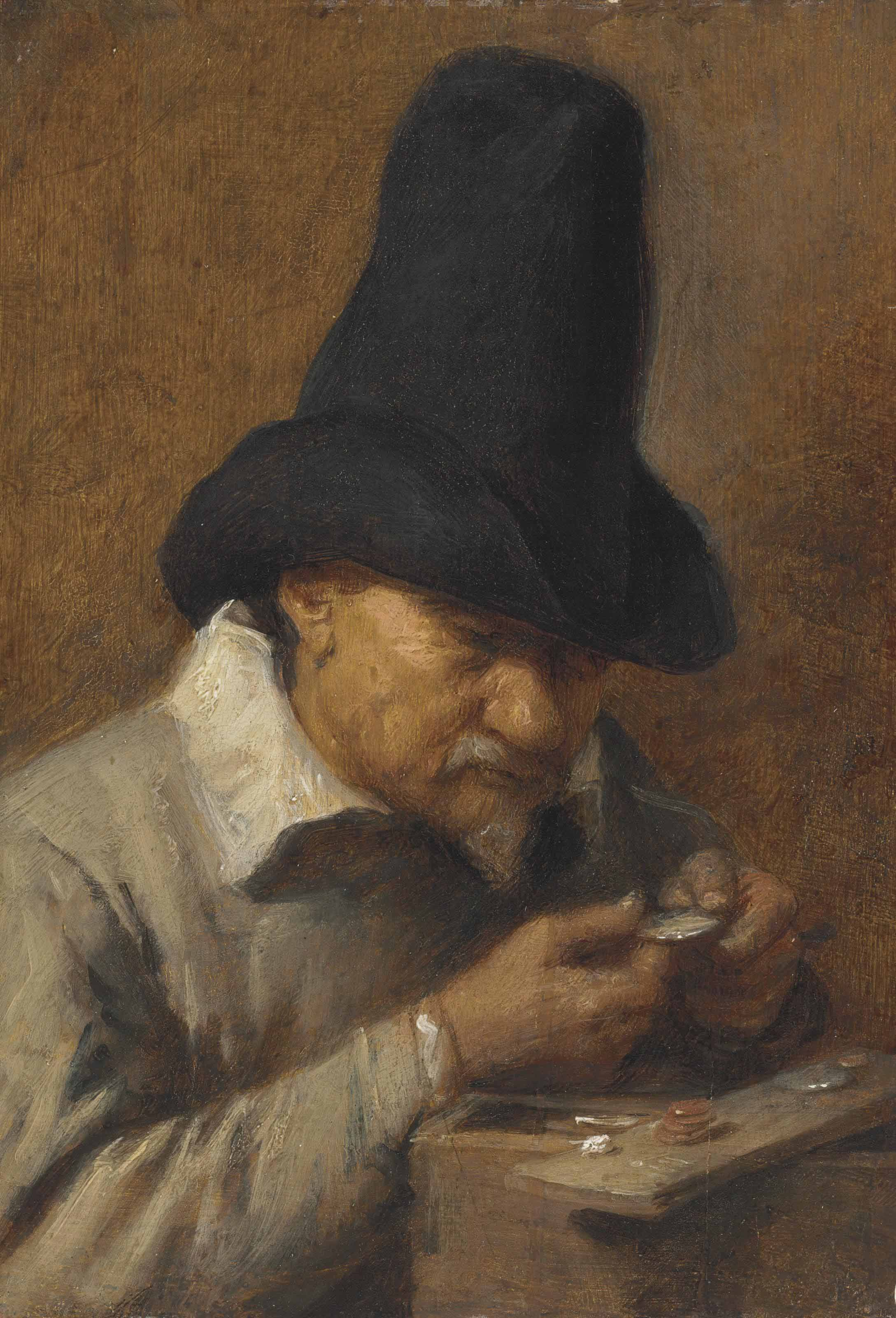 Avarice: an old man counting money