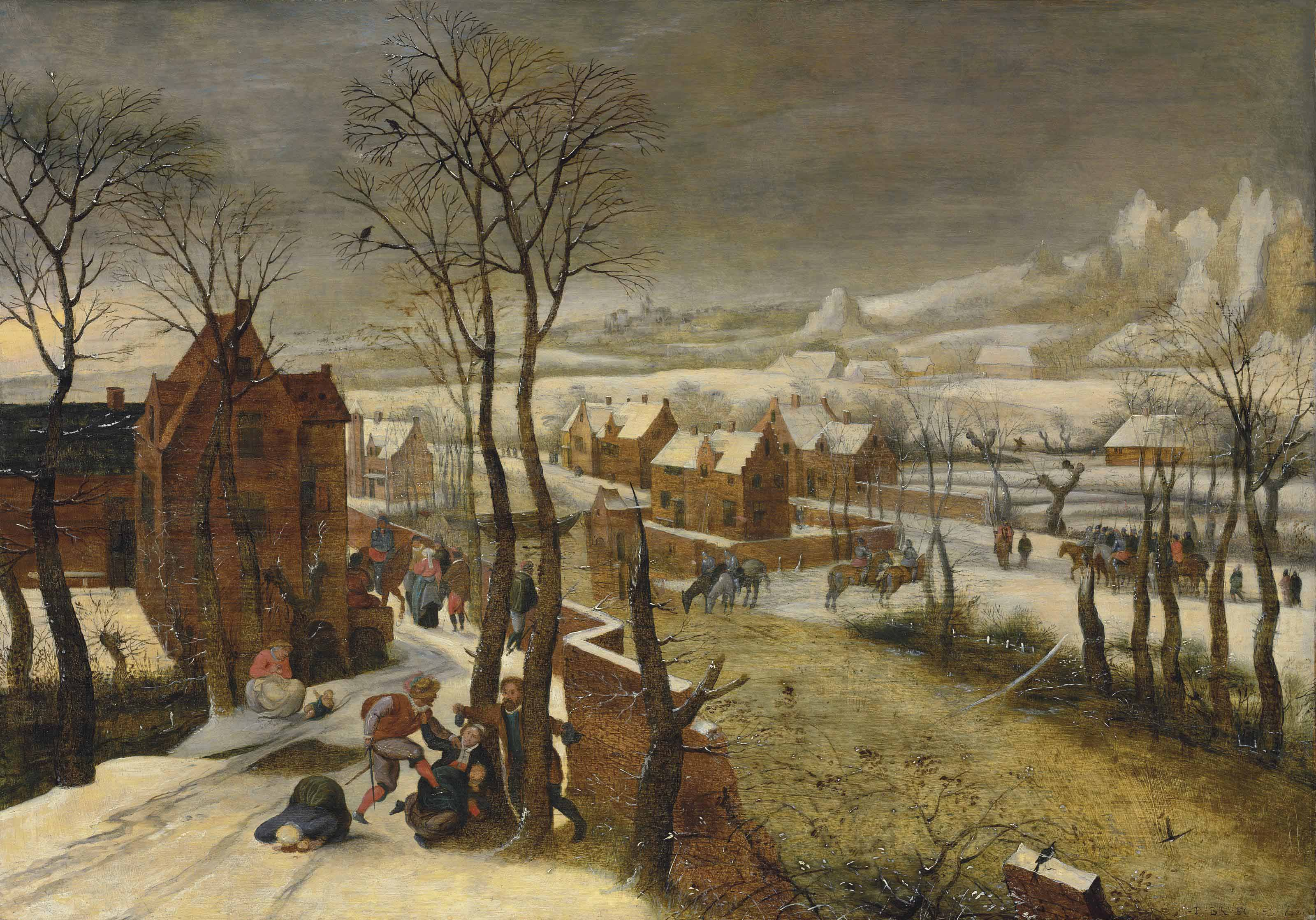 A village landscape in winter with the Massacre of the Innocents