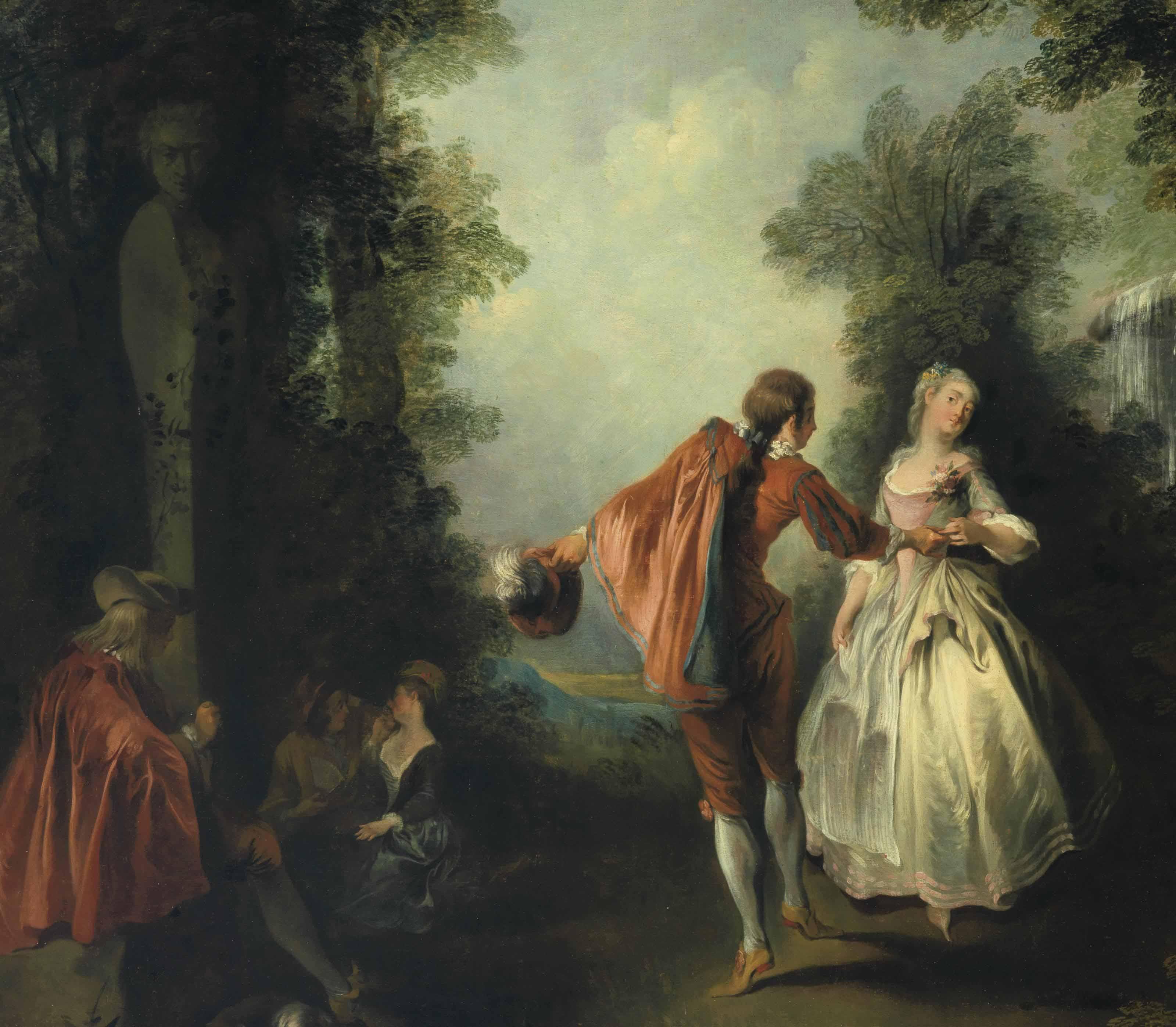 Elegant figures dancing in a wooded landscape
