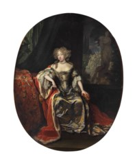 Portrait of a lady, seated full-length