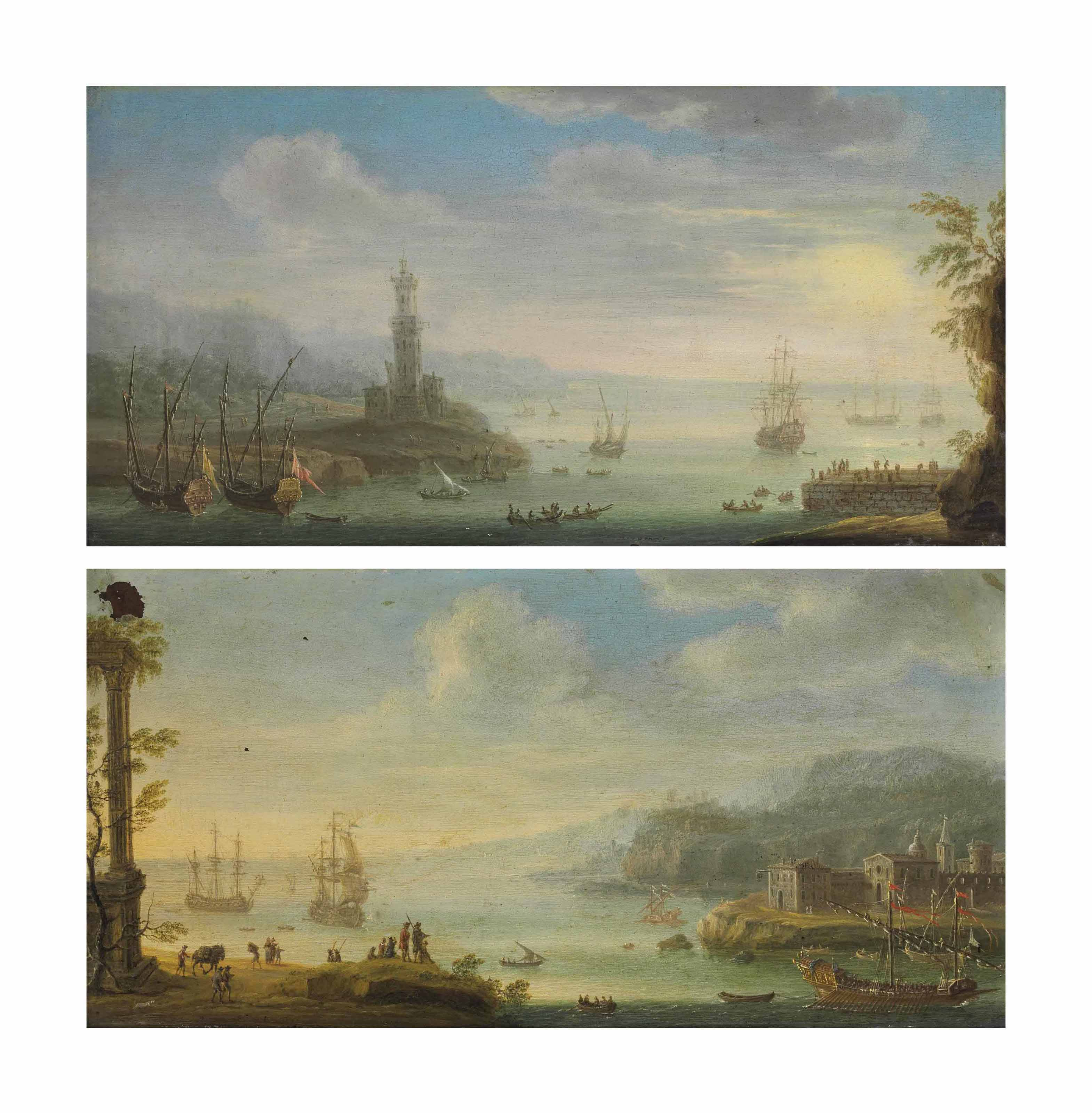 An Italianate harbor with a barge, men-o'-war and other shipping, a walled town beyond; and An Italianate harbor with men-o'-war and other shipping