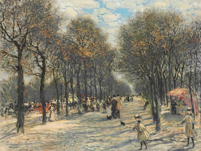 Jean François Raffaëlli (1850-1924), Allée darbres aux Champs-Elysées. 27⅛ x 35⅞  in (69 x 91  cm). Sold for $305,000 on 25 April 2016 at Christie's in New York