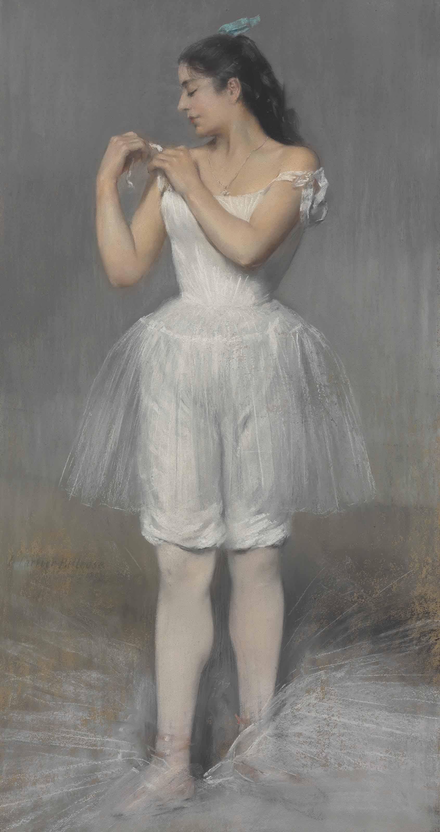 Ballerina adjusting her Shoulder Strap