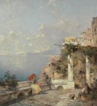 Artist Sketching on a Terrace, Amalfi