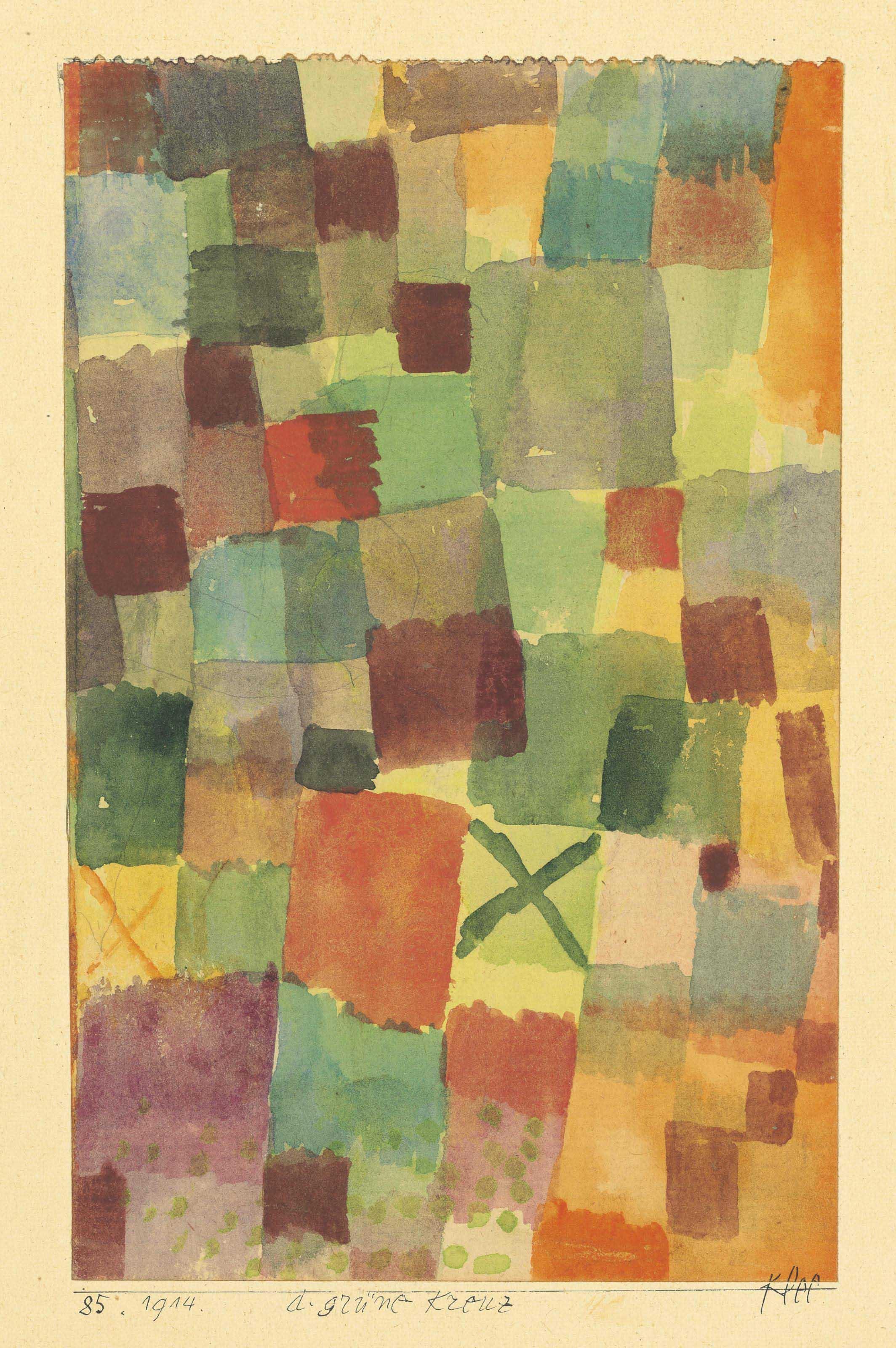 Paul Klee 1879 1940 Aquarell Mit D Gr 252 Nen Kreuz