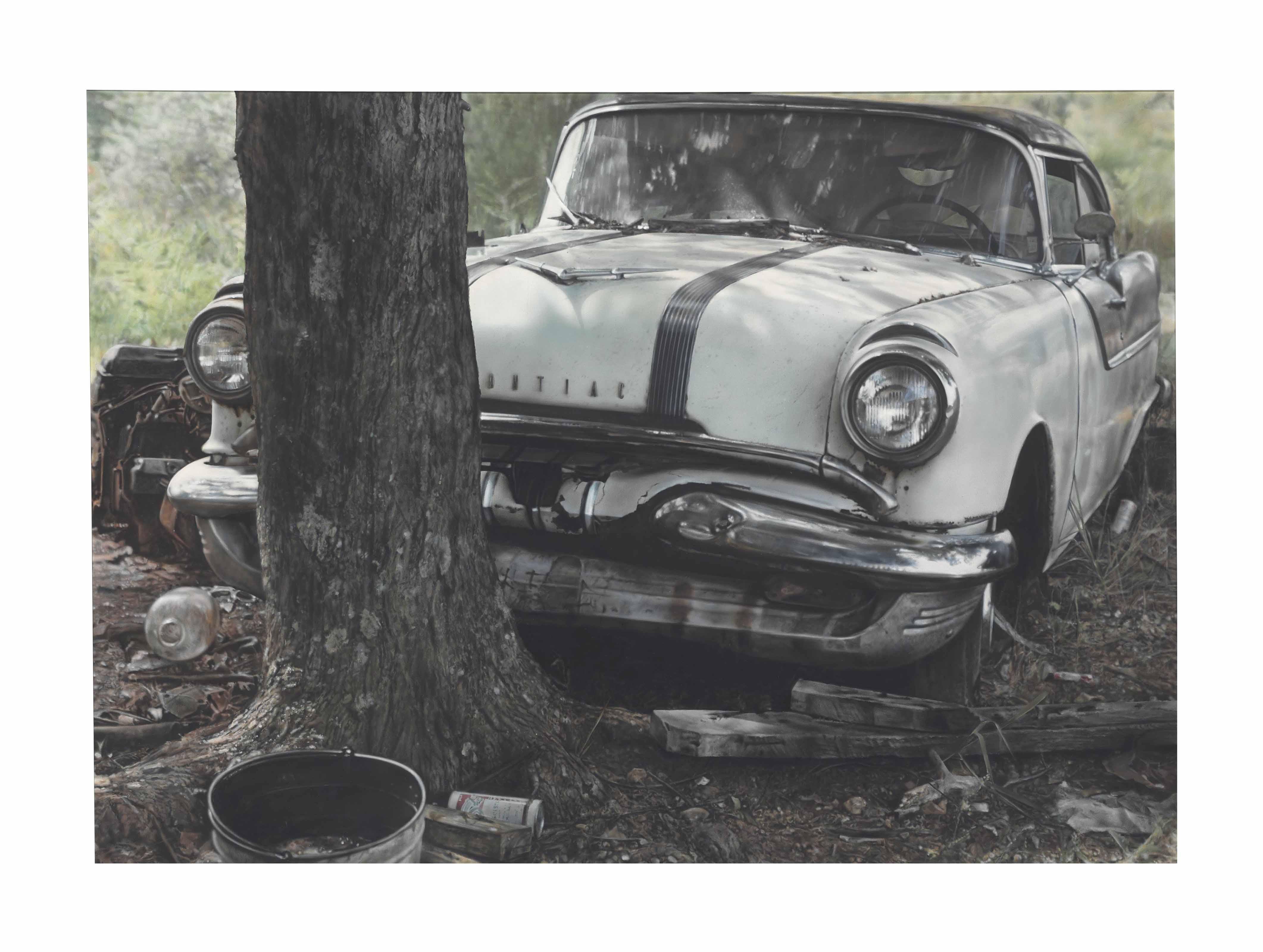 Pontiac with Tree Trunk
