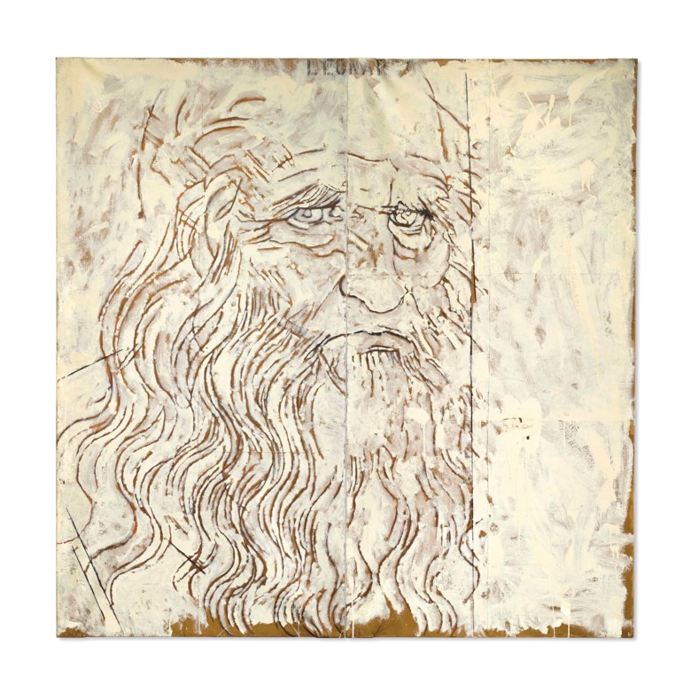 Mario Schifano (1934-1998), Leonardo, executed in 1963. Enamel and paper laid down on two attached canvases. Overall 78¾ x 78¾  in (200 x 200  cm). Sold for $511,500 on 15 November 2016 at Christie's in New York.Artwork © Mario Schifano, DACS 2019