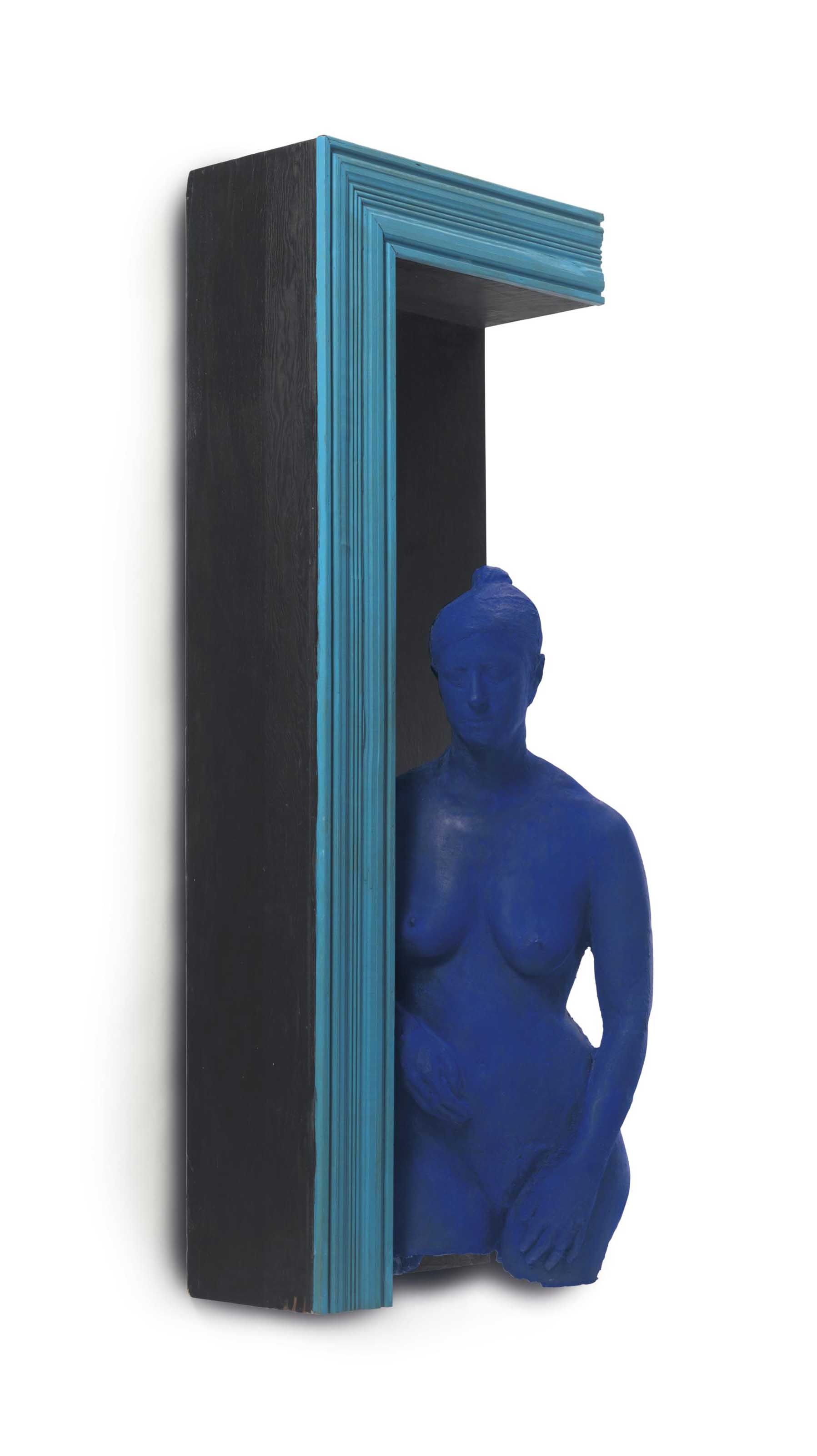 Blue Girl in Black Doorway