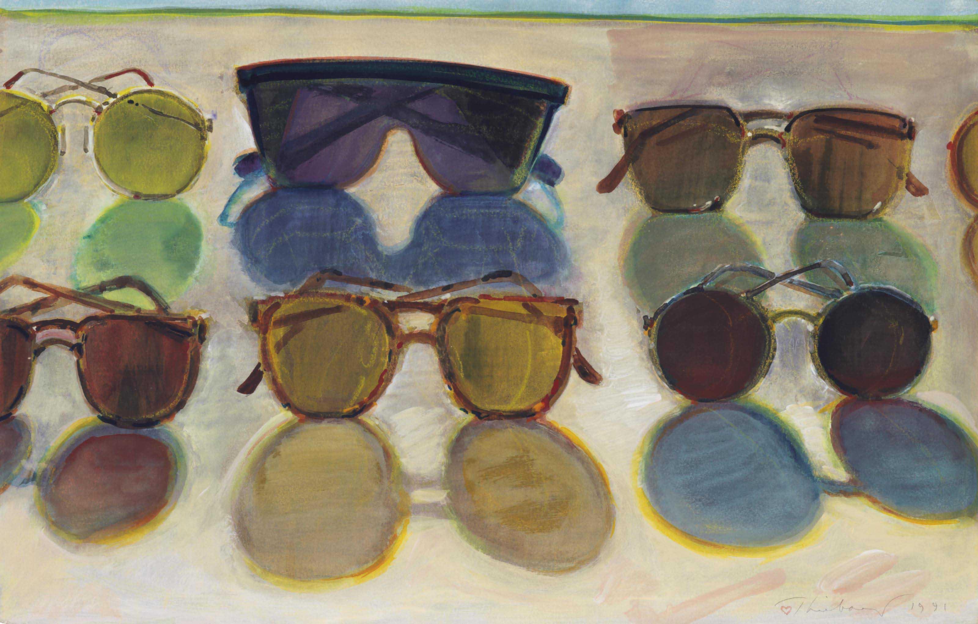 51428350f0e Wayne Thiebaud (b. 1920) | Sunglasses | 1990s, Drawings ...