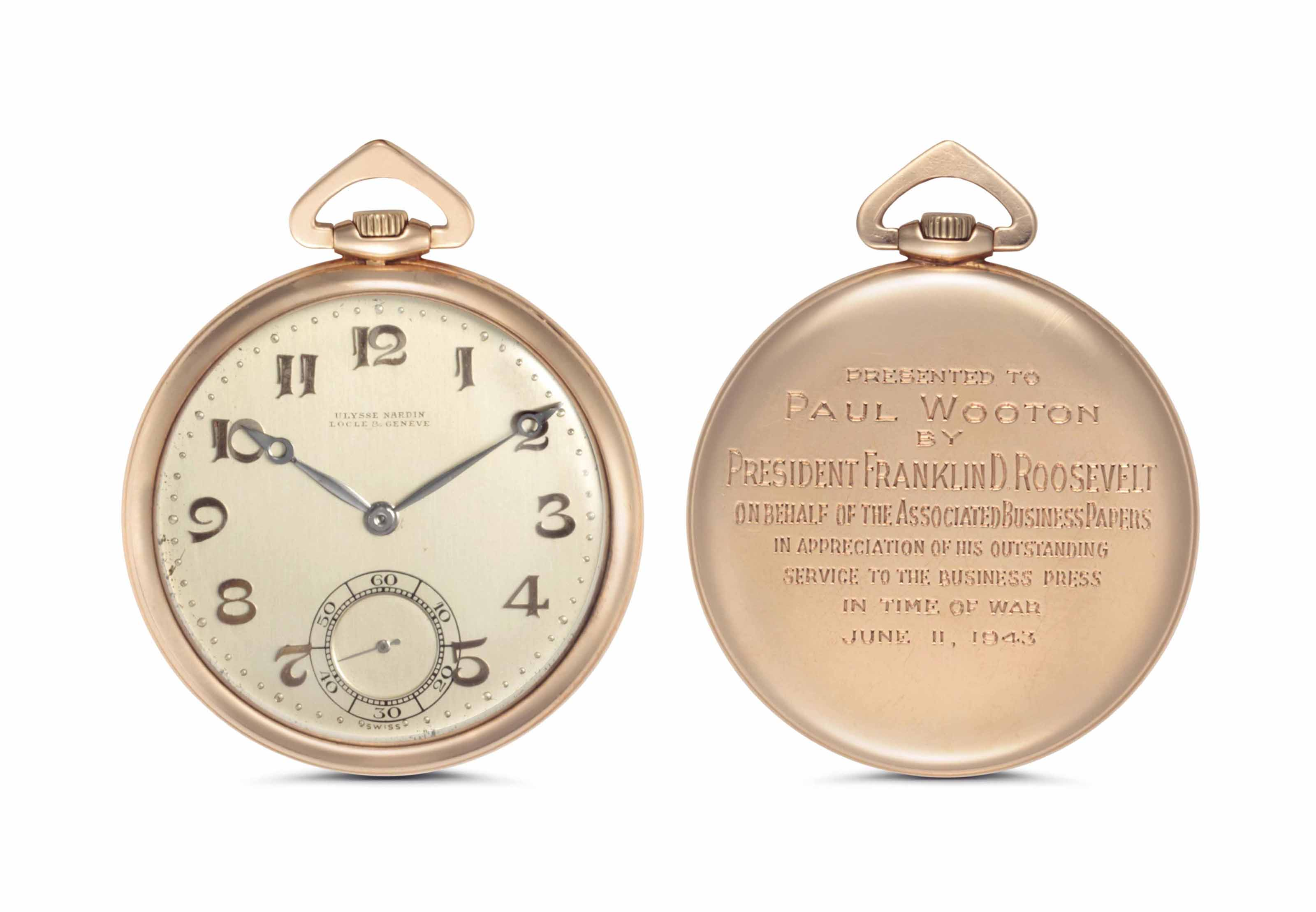 Ulysse Nardin. A Fine and Historically Important 14k Pink Gold Openface Keyless Lever Pocket Watch, Presented by President Franklin D. Roosevelt