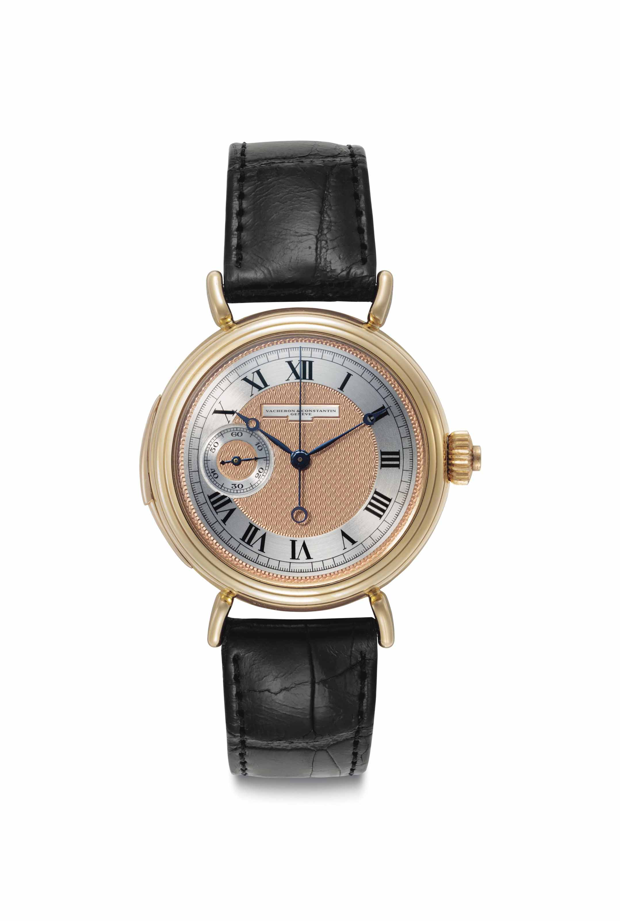 Vacheron Constantin. An Extremely Fine and Rare 18k Gold Five Minute Repeating Wristwatch with Single Button Chronograph