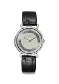 Vacheron Constantin. An Extremely Fine and Rare Platinum Minute Repeating Wristwatch with Silvered Vertical Satined Dial