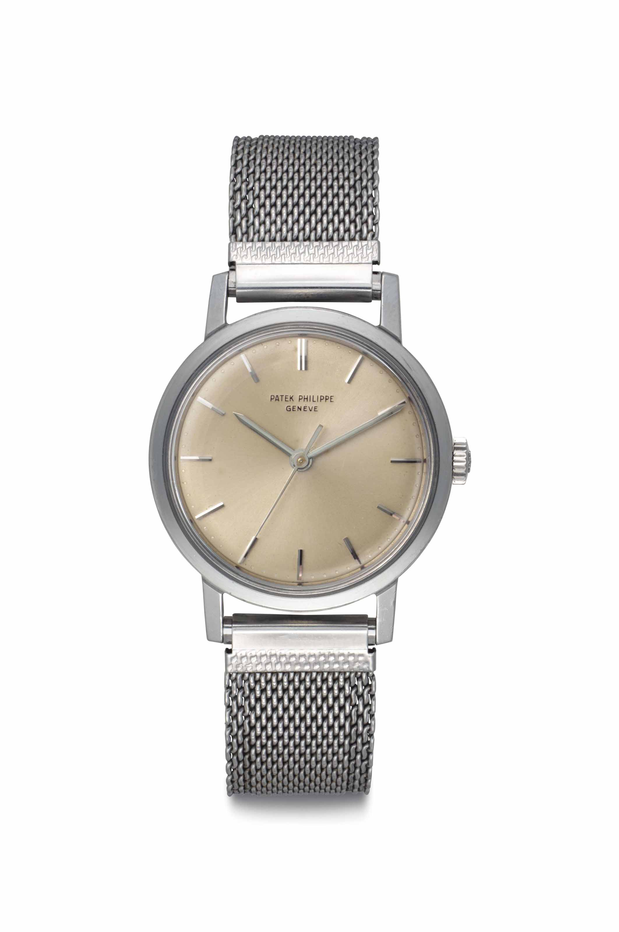 Patek Philippe. A Fine Stainless Steel Wristwatch with Center Seconds