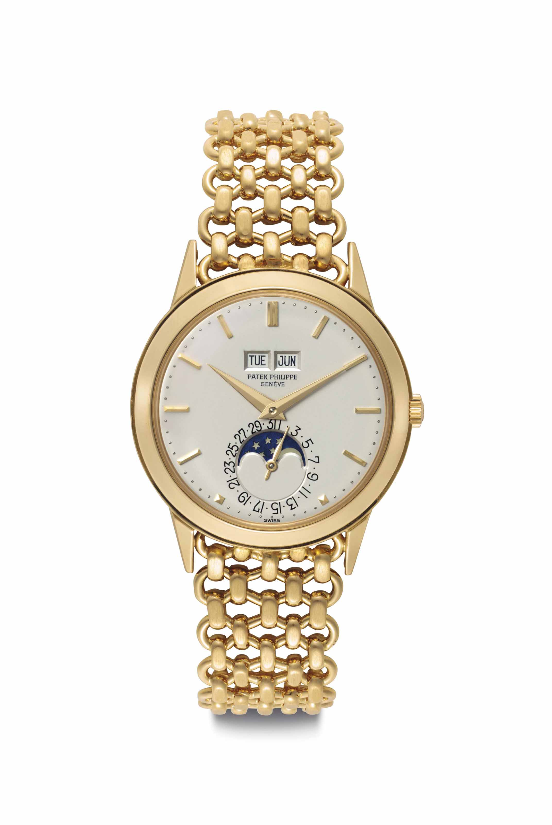 Patek Philippe. An Extremely Fine and Rare 18k Gold Automatic Perpetual Calendar Wristwatch with Moon Phases and Bracelet