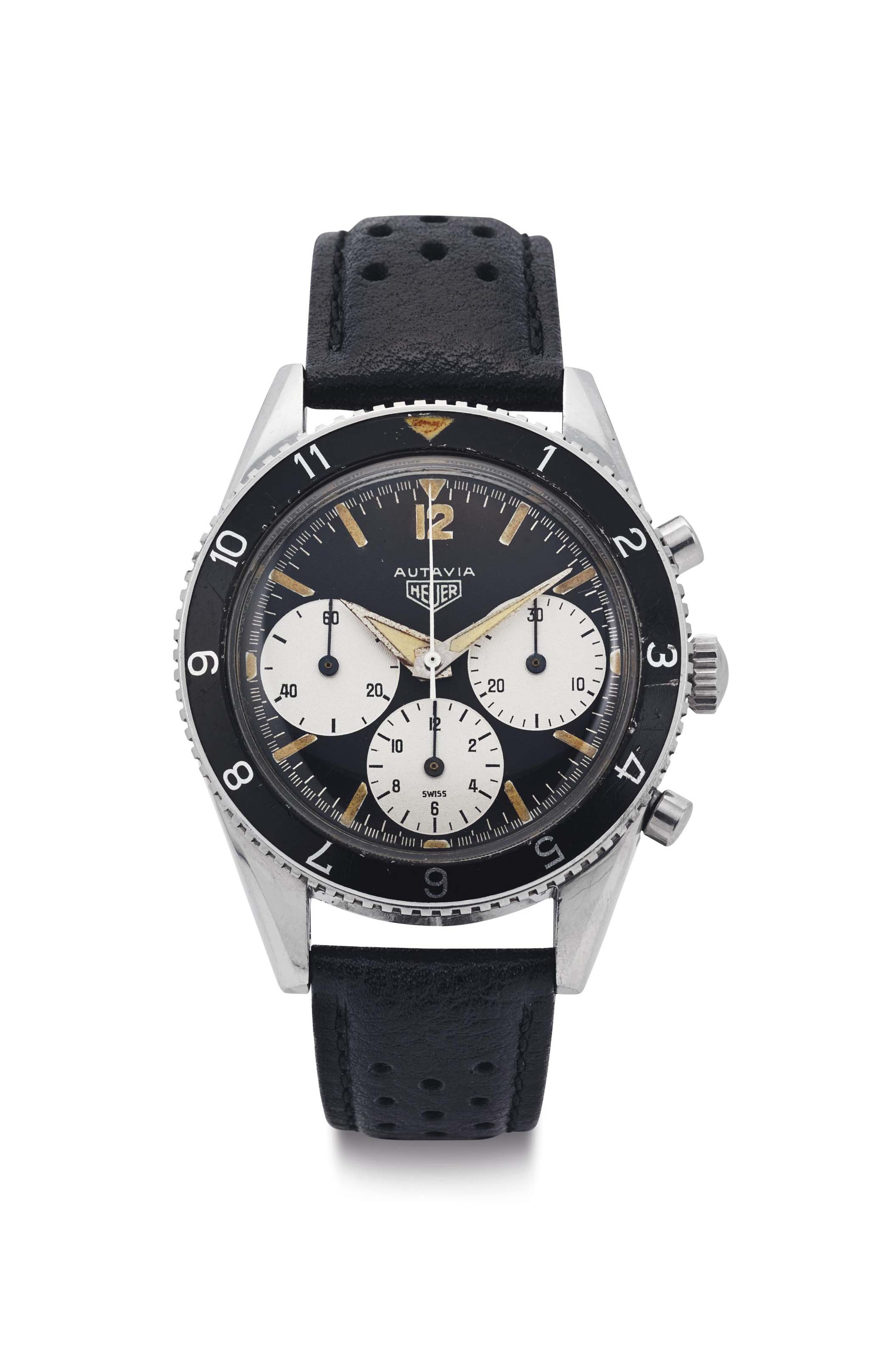 Heuer. A Very Rare Stainless Steel Chronograph Wristwatch