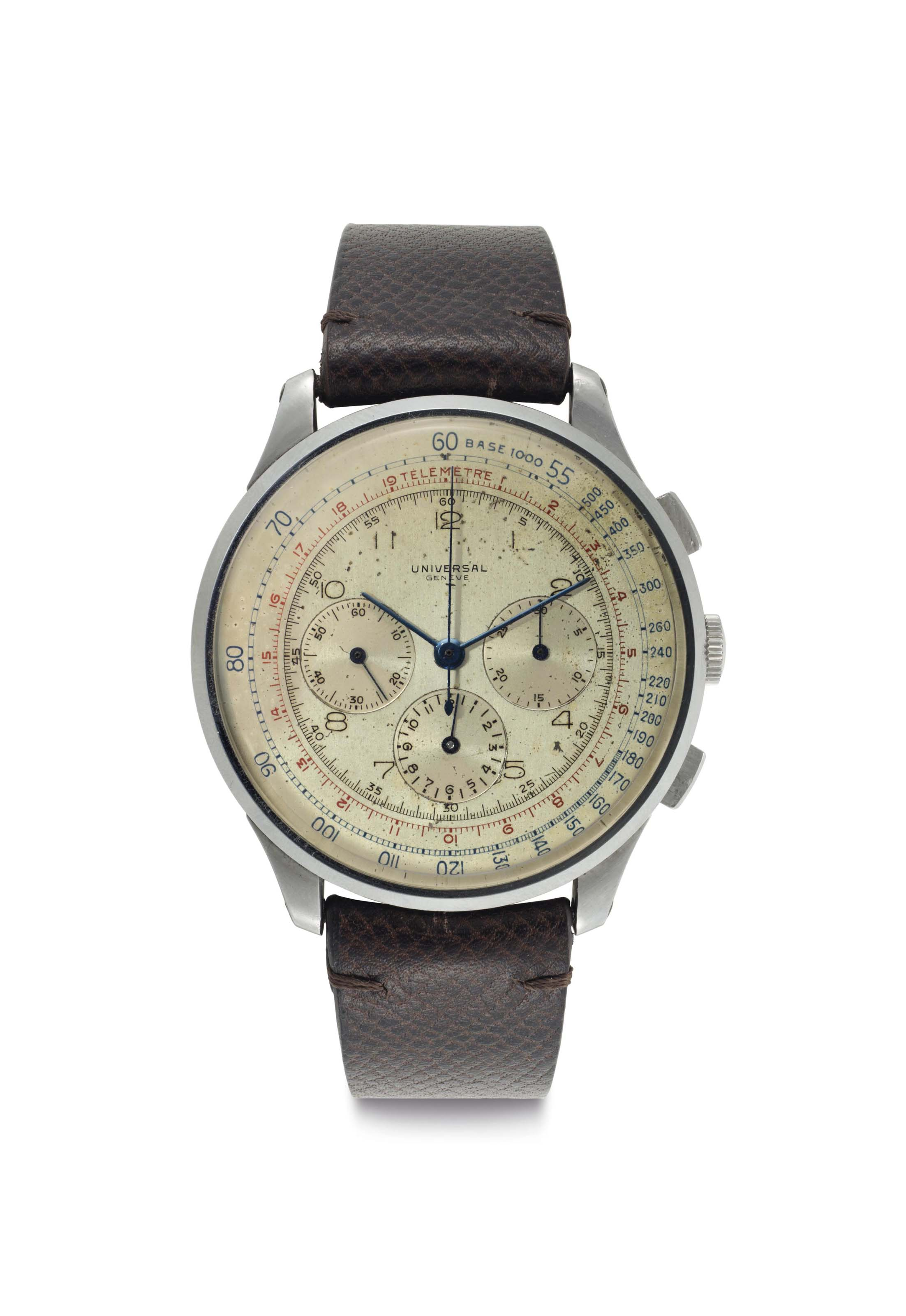 Universal. A Rare Oversized Stainless Steel Chronograph Wristwatch