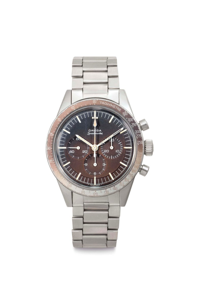 Omega. A fine stainless-steel chronograph wristwatch with 'tropical' dial and bracelet. Signed Omega, Speedmaster, Ref. ST 105 003, No. 26441774. Manufactured in 1967. Sold for $30,000 on 6 December 2016