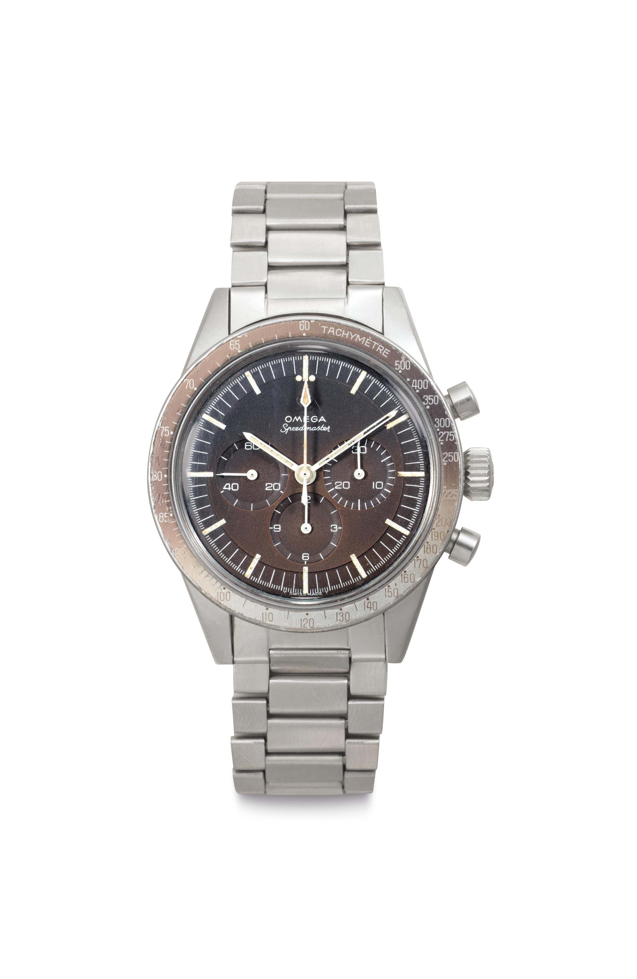 """Omega. A Fine Stainless Steel Chronograph Wristwatch with """"Tropical"""" Dial and Bracelet"""