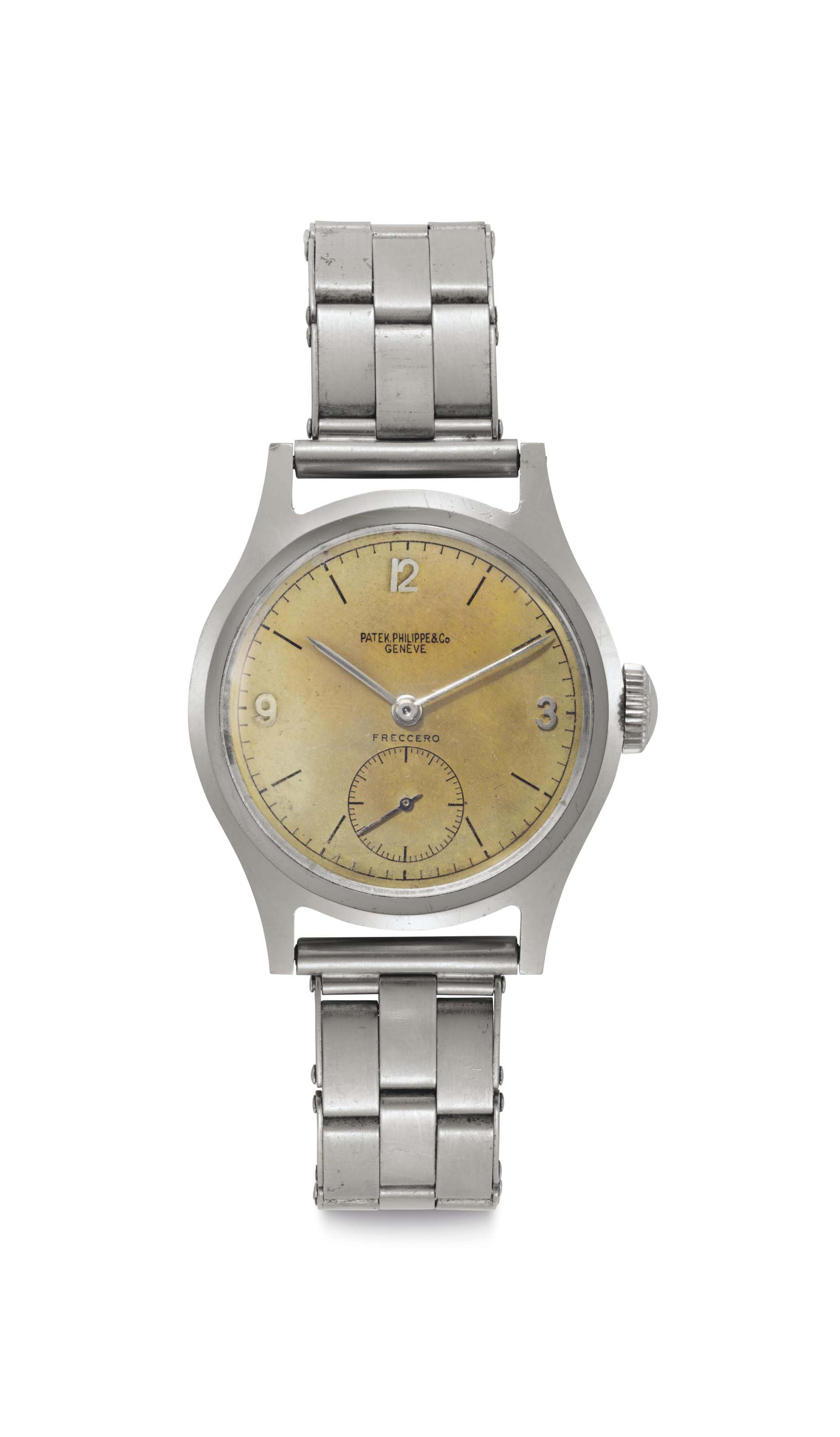 "Patek Philippe. A Stainless Steel Wristwatch with ""Tropical"" Dial and Bracelet"