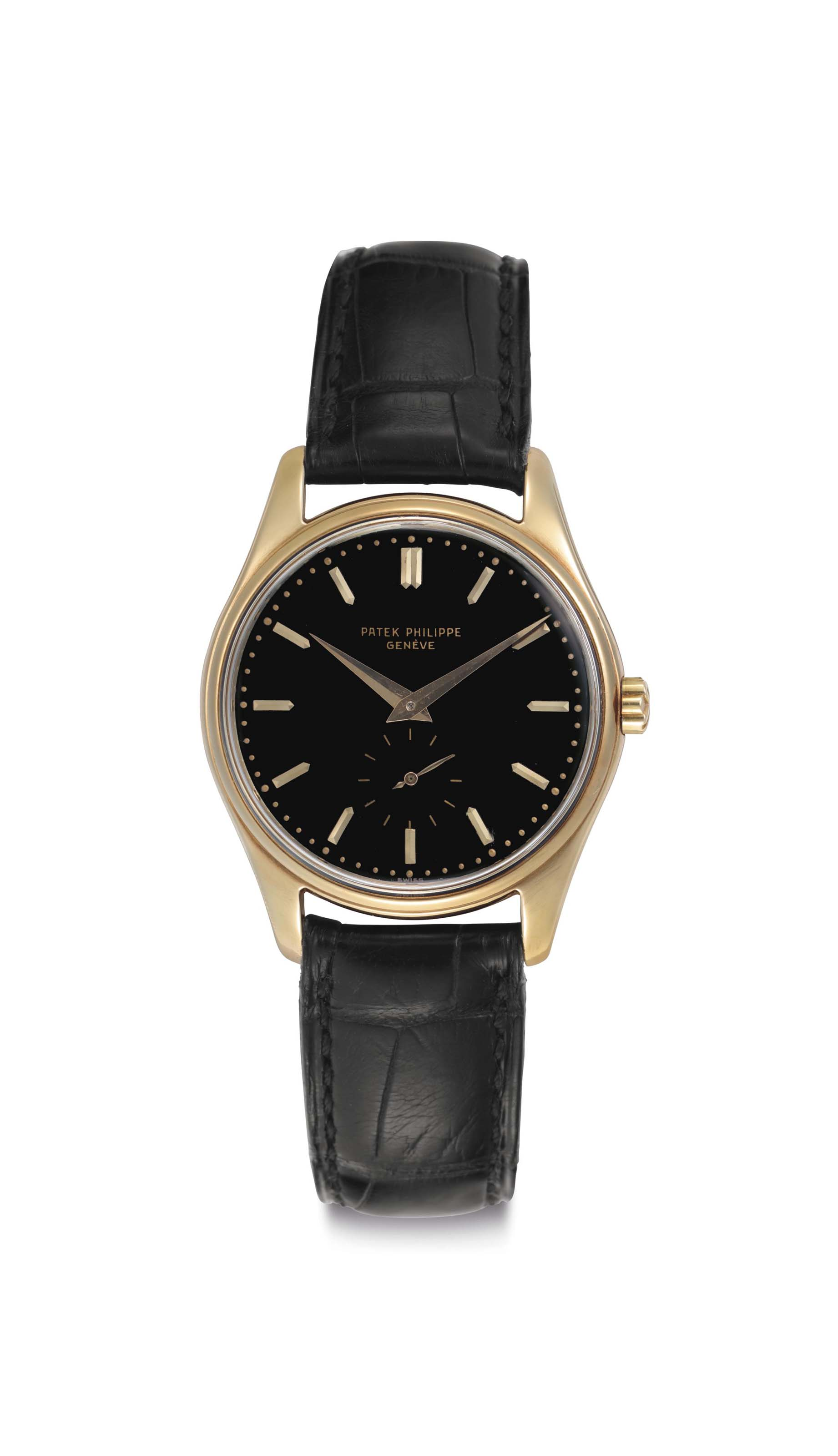 Patek Philippe. A Fine 18k Gold Automatic Wristwatch with Black Enamel Dial