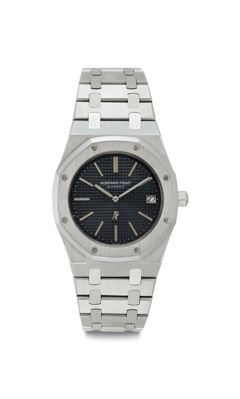 Audemars Piguet. A fine stainless-steel automatic wristwatch with date and bracelet. Signed Audemars Piguet, automatic, Royal Oak A-series model, no. A 40, circa 1972. Sold for $56,250 on 6 December 2016 at Christie's in New York