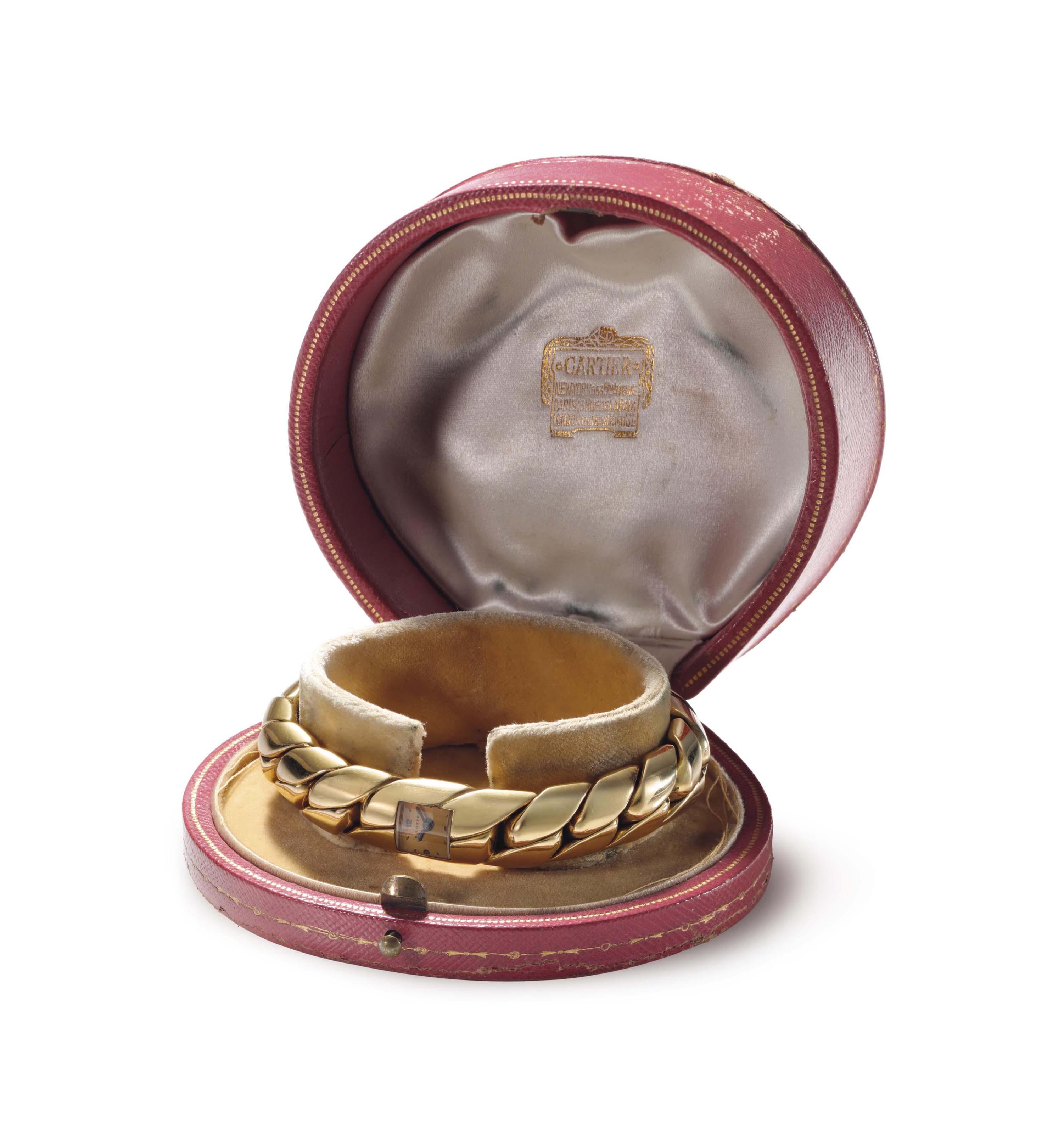 Cartier. A Lady's 18k Gold Bracelet Watch