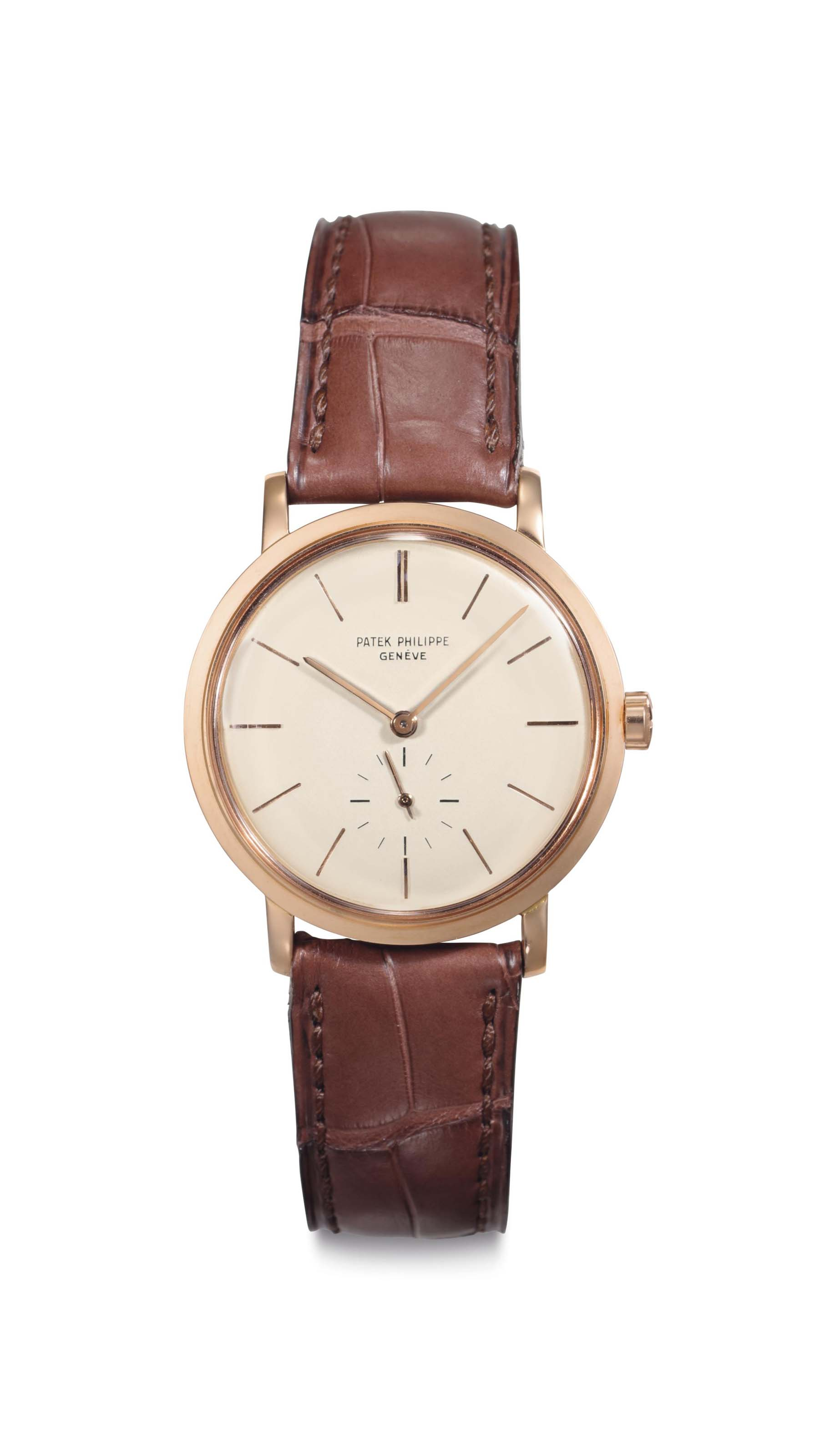 Patek philippe a fine 18k pink gold automatic wristwatch signed patek philippe geneve ref for Patek philippe geneve