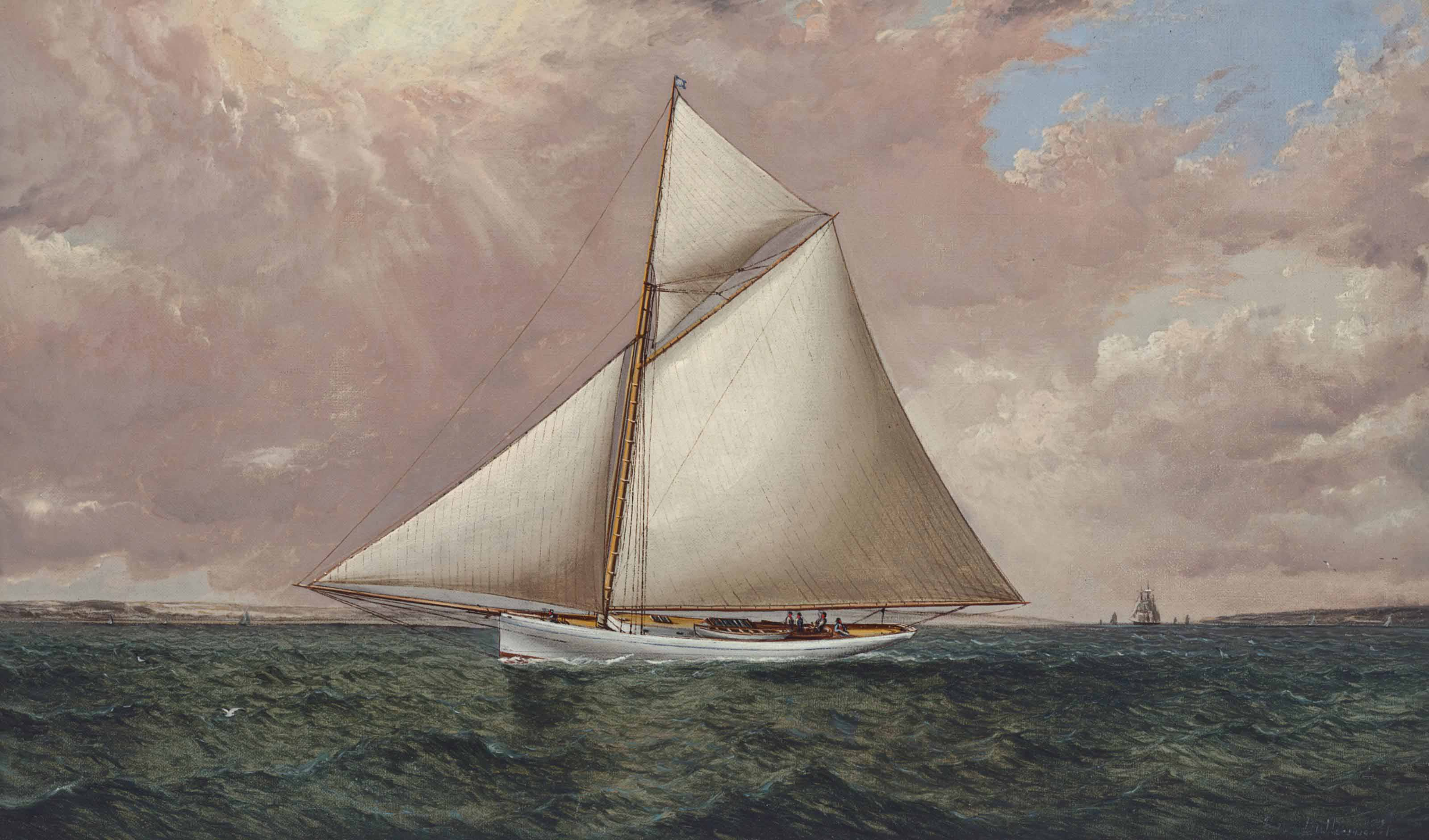 A Gaff Rigged Racing Cutter