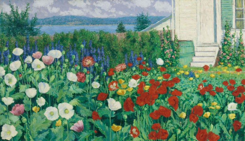 John Leslie Breck (1860-1899), Garden, Ironbound Island, Maine, painted circa 1896. Oil on canvas. 28½ x 48½  in (72.4 x 123.2  cm). Sold for $1,447,500 on 22 November 2016 at Christie's in New York