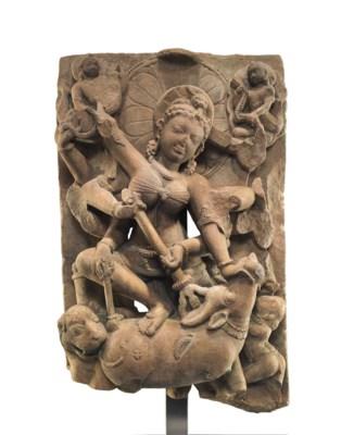 A sandstone relief of Durga Ma