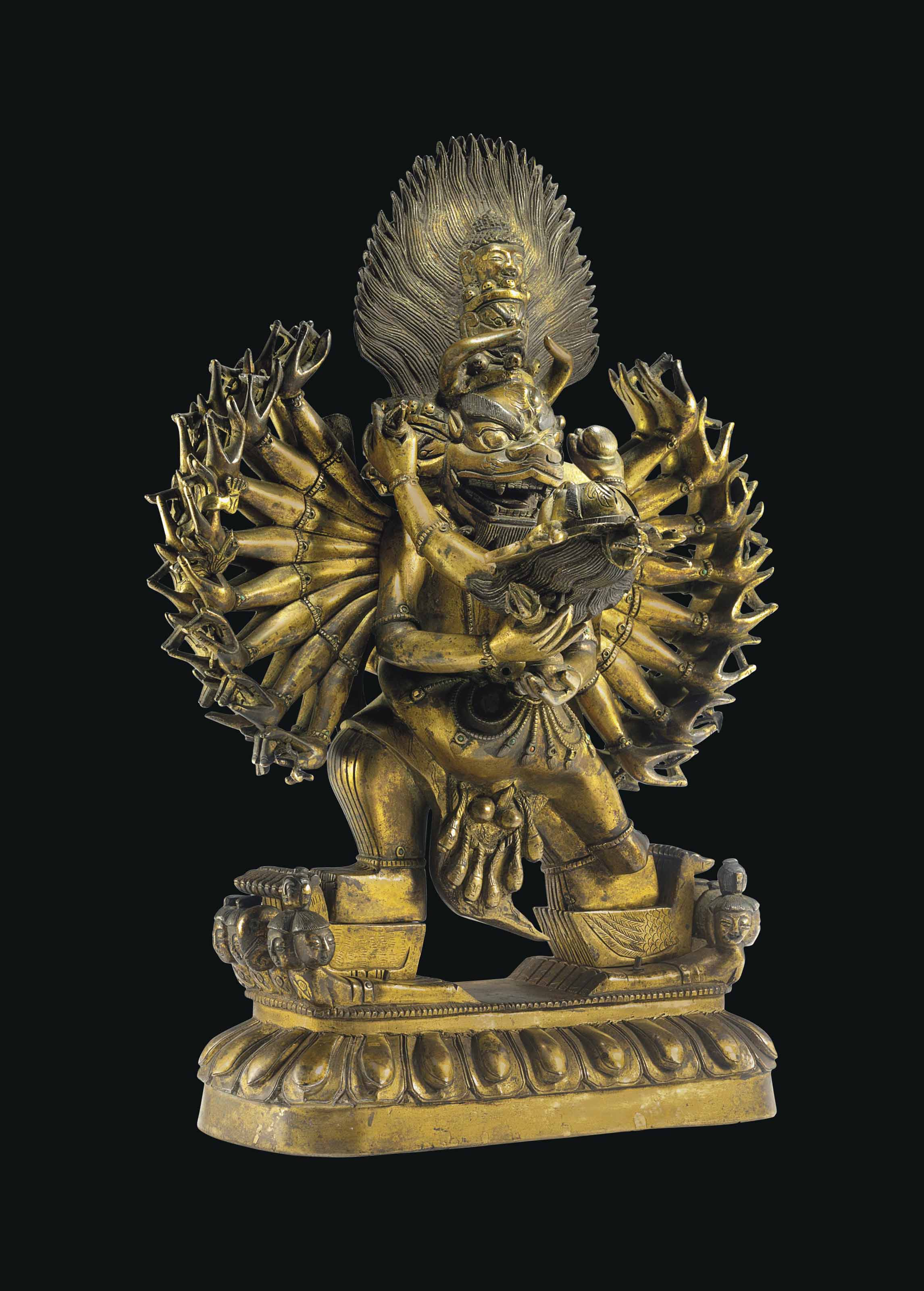 A Gilt Bronze Figure of Yamant