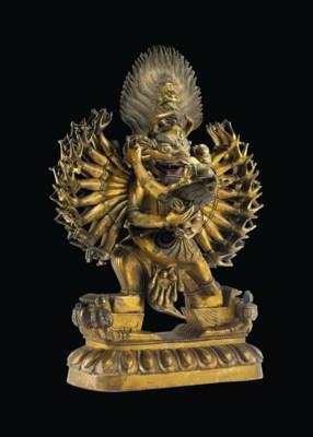 A Gilt Bronze Figure of Yamant