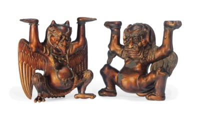 A PAIR OF GILT- AND RED-LACQUE