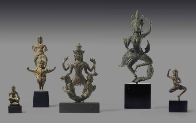 A GROUP OF FIVE KHMER BRONZES