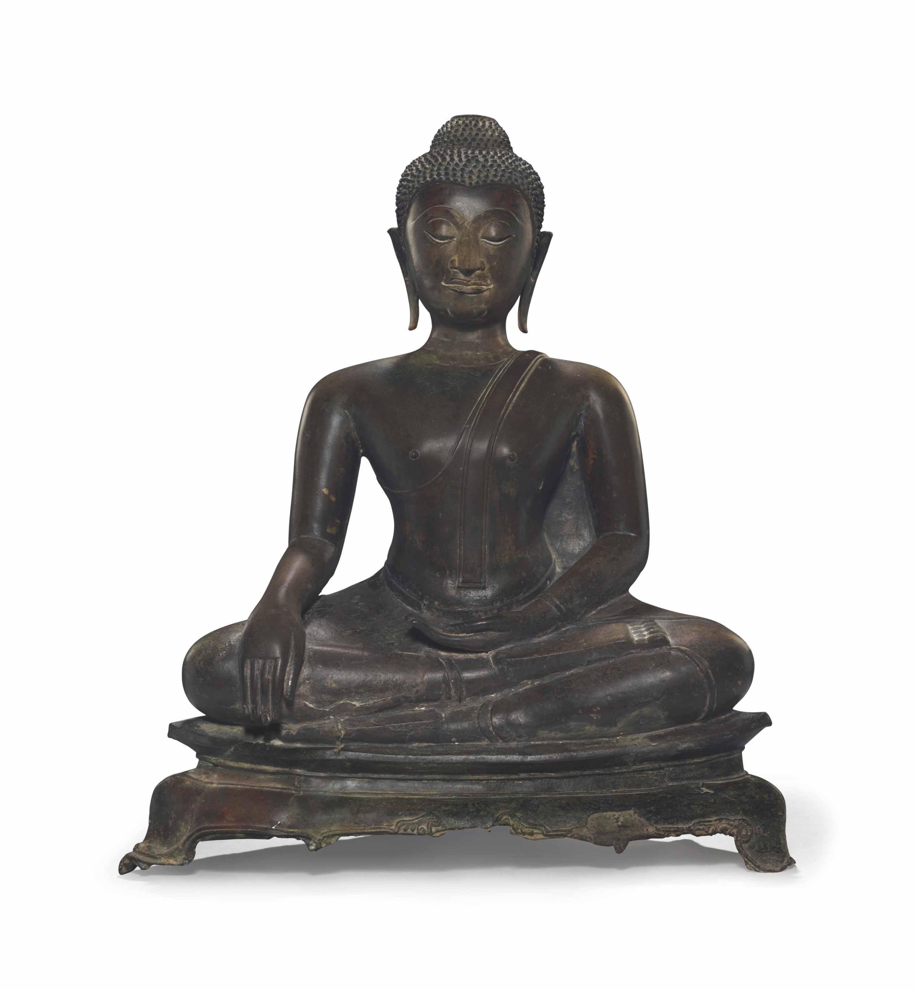 A bronze figure of a Seated Bu