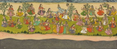 Krishna embraces the Gopis