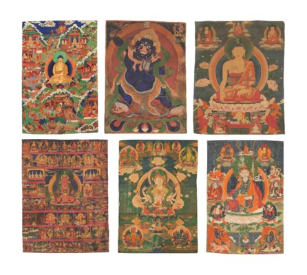 A group of six thangkas