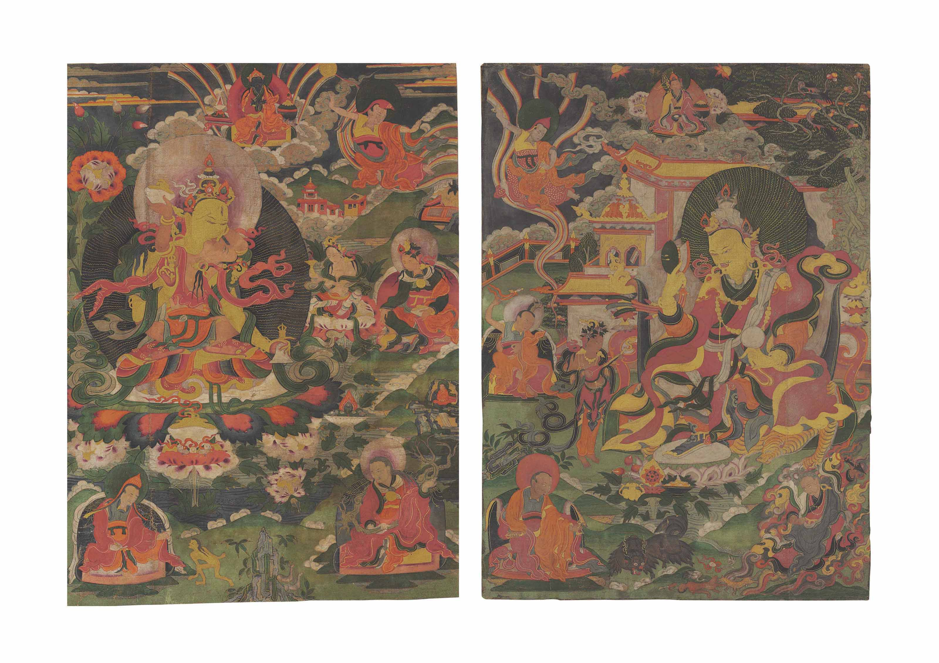 A group of two thangkas