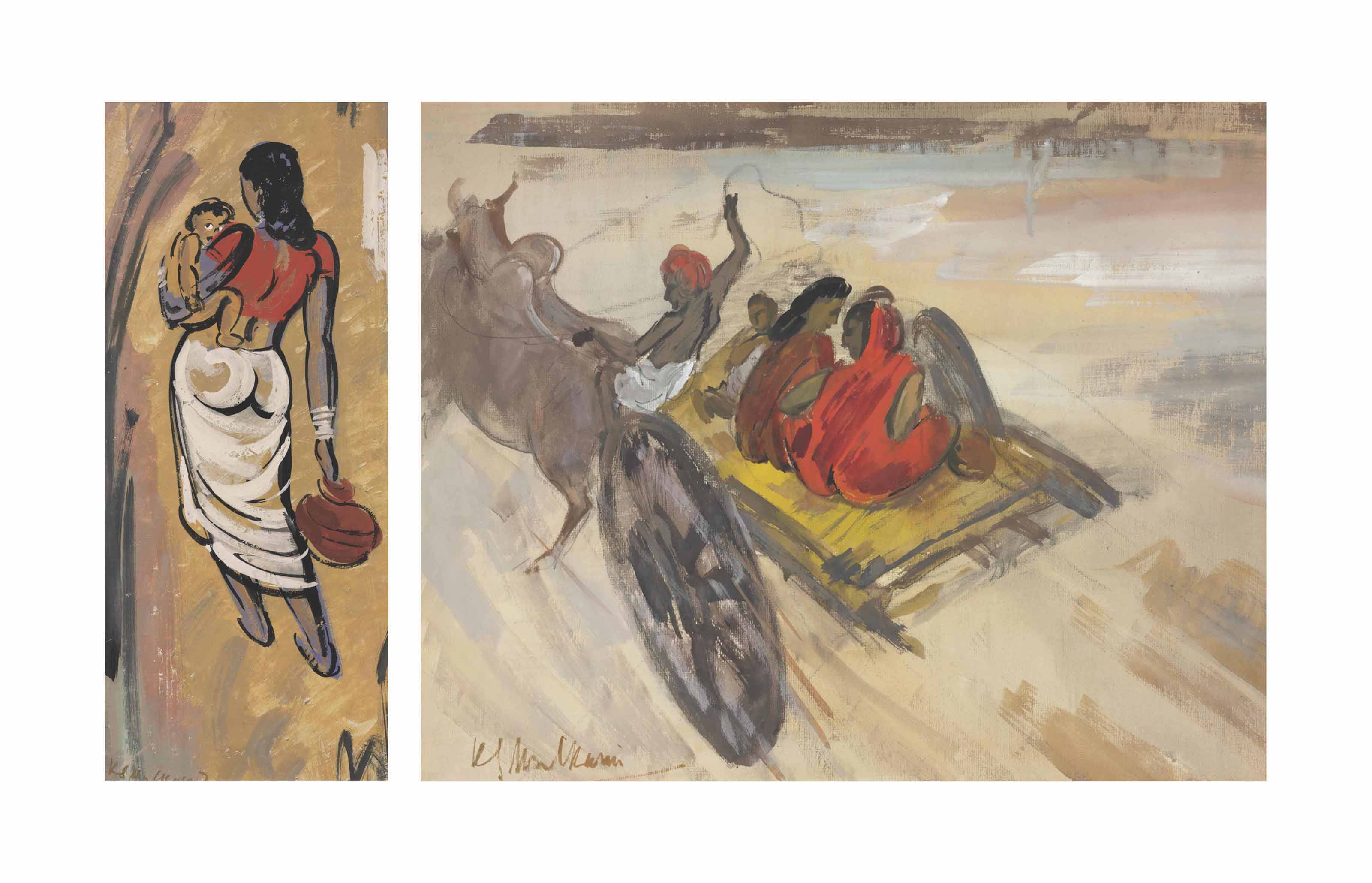 Untitled (Woman and Child); Untitled (Bullock Cart)