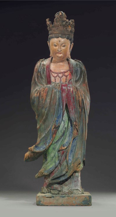 A LARGE POLYCHROMED WOOD FIGUR