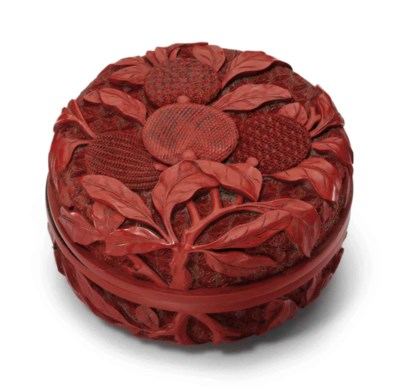 A CARVED RED LACQUER CIRCULAR
