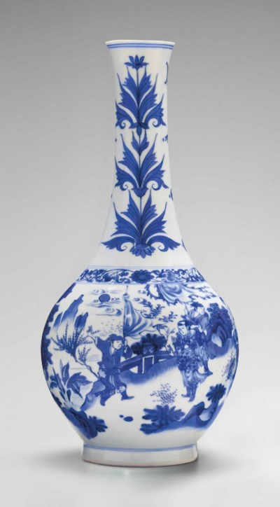 A BLUE AND WHITE PEAR-SHAPED V